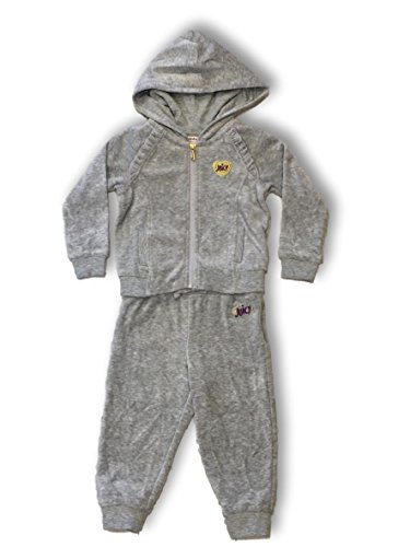 Juicy Couture Girls 2 pc Velour Full Zip Hooded Athletic Jogger Set (Gray Jogger Set, ()