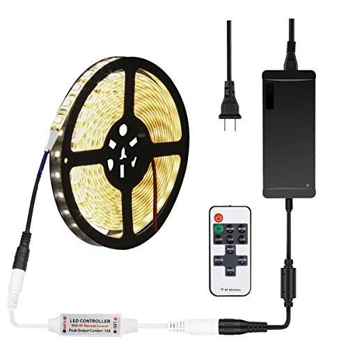 SUPERNIGHT Warm White LED Strip Light Kit, 16.4ft 300 LEDs, SMD 5050, Waterproof, with 12V 5A Transformer Power Supply, RF Dimmer