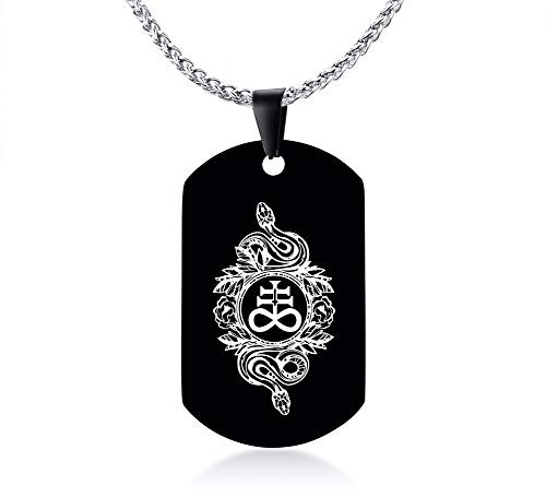 - MPRAINBOW Satanic Cross Dog Tag Necklace Inverted Cross Leviathan Cross Satanic Jewelry Satan Occult Sulfur Slchemy Symbol Sigil Pin