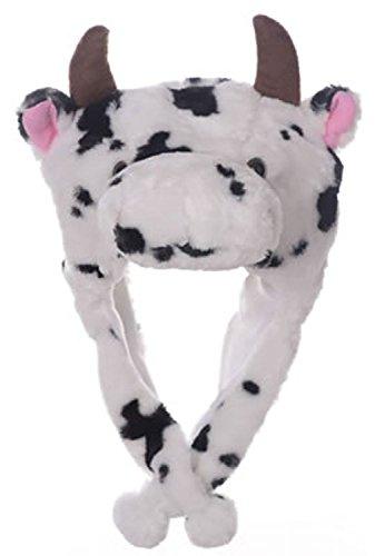 Animal Head Super Soft Plush Childrens Hat - Cow - Cow Soft