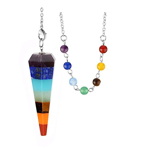 JOVIVI 7 Chakra Healing Crystal Pendulum for Dowsing Divination Chakra Reiki Pointed with Chain