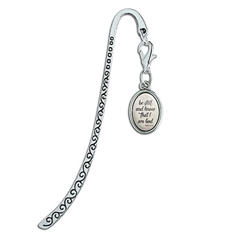 Charm Bookmarks Silver (Be Still and Know that I am God Psalm Inspirational Christian Metal Bookmark Page Marker with Oval Charm)