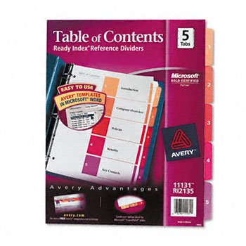 Avery® Ready Index® Contemporary Multicolor Table of Contents Dividers INDEX,BNDR,LTR,5/ST,AST (Pack of50)