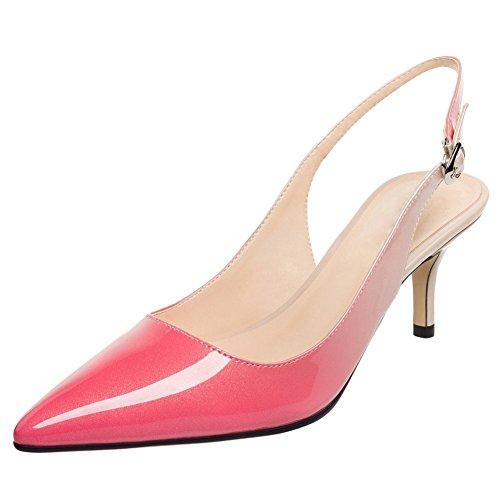 Mujer Sandalias Jushee MRB03 Zapatos de Tacón Slingback Sandalias Mujer de Tacón Alto con Puntera Punta 1 Par Beige-rosado