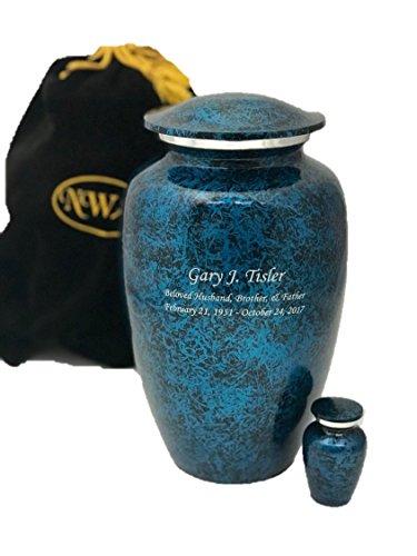 Custom Cremation Urn, Adult Human Memorial Urn with Personalization, Keepsake and Velvet Bag
