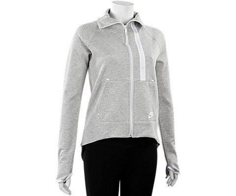Nike Women's Tech Fleece Moto Cape Jacket, Grey Heather/White, Large