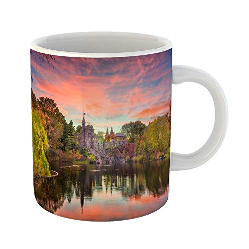 Emvency Coffee Tea Mug Gift 11 Ounces Funny Ceramic Central Park New York City at Belvedere Castle During Autumn Twilight Gifts For Family Friends Coworkers Boss Mug