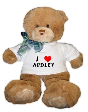Plush Brown Teddy Bear (Dean) with I Love Audley T-shirt (first name/surname/nickname)