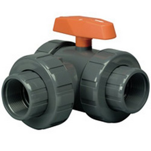 Hayward LA1050ST Series LA Lateral Three-Way True Union Ball Valve, Socket/Threaded End, PVC with FPM Seals, 1/2
