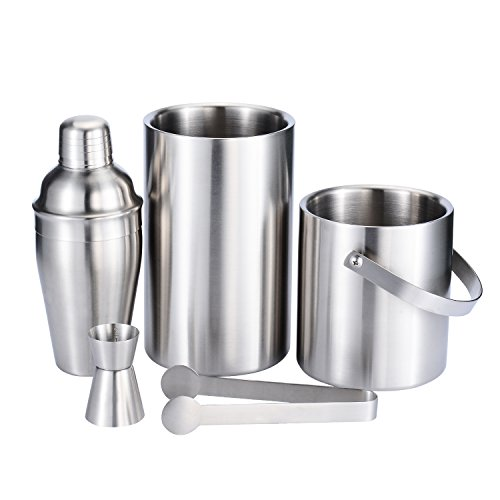 Fortune Candy Stainless Steel Bar Set, 5 Pieces Home Bar Tool Set with 52.8oz Champagne Ice Bucket with Tongs, 38.7oz Double Wall Ice Buckets, 17.6oz Cocktail Shaker, Double Measuring Jiggle (Martini Chiller Set)