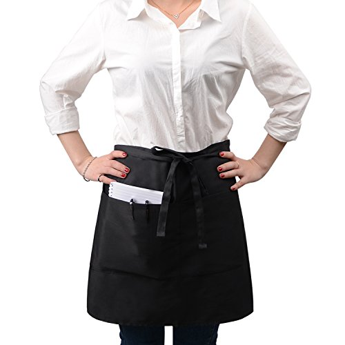 Rotanet Poly Cotton Waist Apron-Kitchen Cooking Restaurant Bistro Craft Garden Half Aprons with 3 Pockets for Men, Women, Chef, Baker, Servers, Waitress, Waiter, Craftsmen (Black)