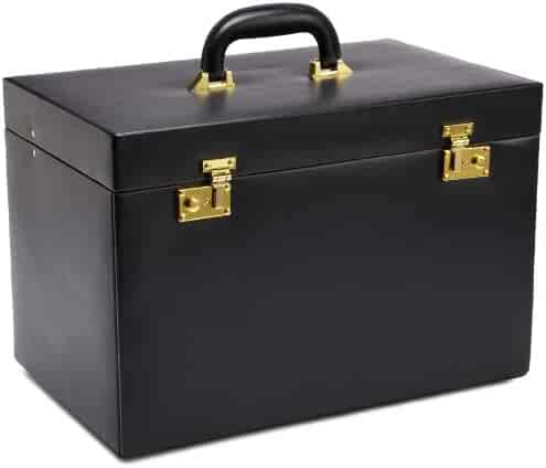 WOLF 280802 Heritage Extra Large Jewelry Trunk, Black