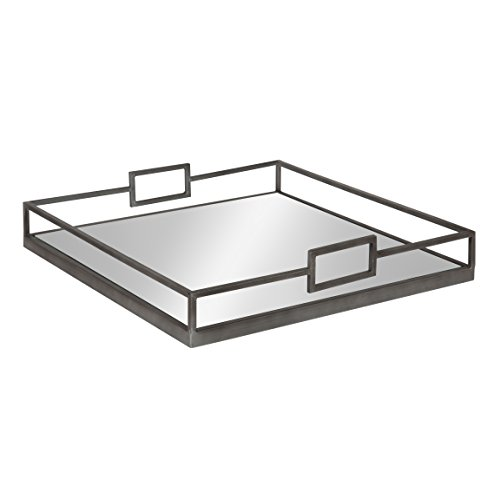 Kate and Laurel Trask Square Metal Mirrored Tray, Pewter by Kate and Laurel