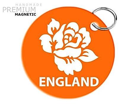 Impresionante JCM England Rugby Llavero magnético de rosa ...