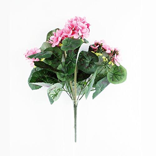 FloristryWarehouse Artificial Silk Geranium Bush Upright 15 Inches Light Pink Hanging Basket Window Box Flowers