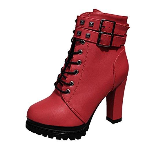 Martin Stiefel Damen Sonnena Ankle Boots Frauen High Heels Plateau Knöchel Stiefel Dünne Ferse Nieten Schnürstiefel Schuhe Leder-Optik Schuhe Reißverschluss Schnallen Blockabsatz Sexy Rot