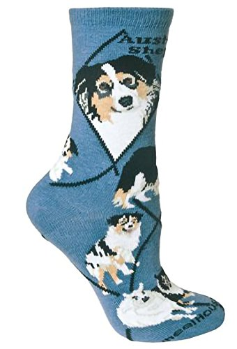(Wheelhouse Australian Shepherd on Blue Lightweight Stretch Cotton Crew Sock Adult Unisex Size)