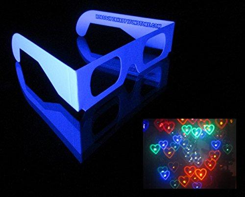 10 Pair Rainbow Hearts Fireworks Diffraction Glasses (Plain White Frames)
