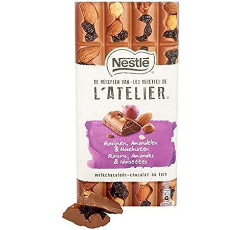 Chocolate con leche, pasas y almendra, barra de chocolate. | Nestlé | LATELIER Chocolate con leche Pasas Avellanas y almendras | Peso total 195 gramos: Amazon.es: Alimentación y bebidas