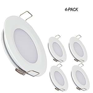 acegoo RV Boat Recessed Ceiling Light 4 Pack Super Slim LED Panel Light DC 12V 3W Full Aluminum Downlights, Cool White (White)