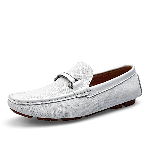rismart Mens Genuine Leather Decicate Plaid Embossing Buckle Loafer Flats Stylish Formal Business Loafers White 9928 US11.5 arccJ34