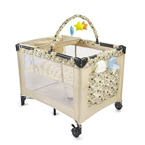 - Big Oshi Deluxe Portable Playard - Foldable Nursery Center Includes Carry Bag for Extra Portability and Easy Storage - Lightweight, Sturdy Design, Includes Removable Bassinet & Changing Table, Beige