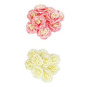 20pcs Artificial Silk Flower Head Camellia for Wedding Decoration_Pink+Beige 9