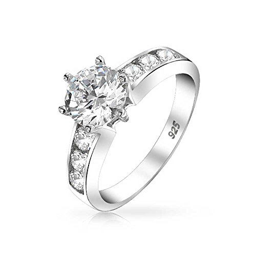 Bling Sterling Silver Channel Set 6-Prong 1.25ct CZ Engag...