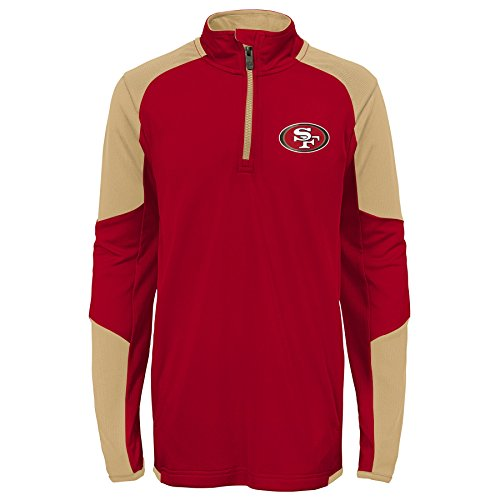 Outerstuff NFL San Francisco 49ers Youth Boys Beta 1/4 Zip Performance Top, Crimson, Youth X-Large(18)