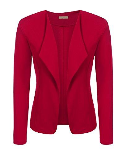 Red Blazer Jacket (Easther Women's Long Sleeve Slim Fit Open Blazer Work Office Draped Blazer Jacket)