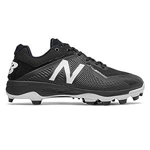 New Balance Men's PL4040v4 Molded Baseball Shoe, Black/White, 13 D US