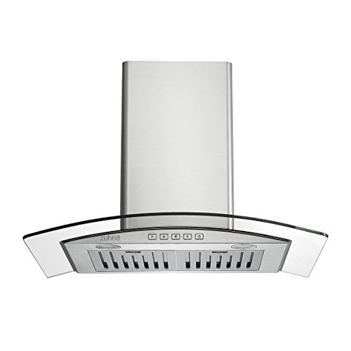 Zuhne Chorus 30 inch Kitchen Wall Mount Ducted / Ductless Stainless Steel Range Hood or Stove Vent with Chimney Extension for 9 - 11 Feet Ceiling