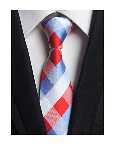 Men's Urban Plaid Blue White Red Skinny Ties Youth Students Party Suit Neckties by Kihatwin (Image #1)