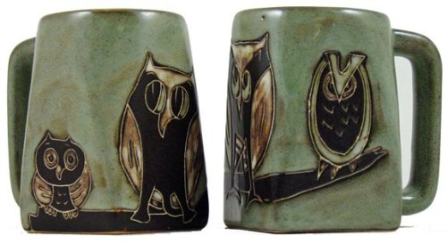 One (1) MARA STONEWARE COLLECTION - 12 Ounce Coffee Cup Collectible Square Bottom Mug - Owl Bird Design