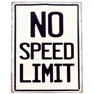Sign Embossed - No Speed Limit Embossed Tin Sign