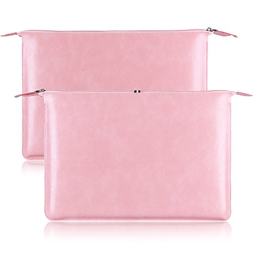 YOCOWOCO 13-13.3 Inch PU Leather Pink Laptop Sleeve Bag for MacBook Pro Touch Bar/MacBook Air/ASUS Zenbook/Dell XPS 13/ HP Acer Lenovo Chromebook Protective Cover Notebook Case ()