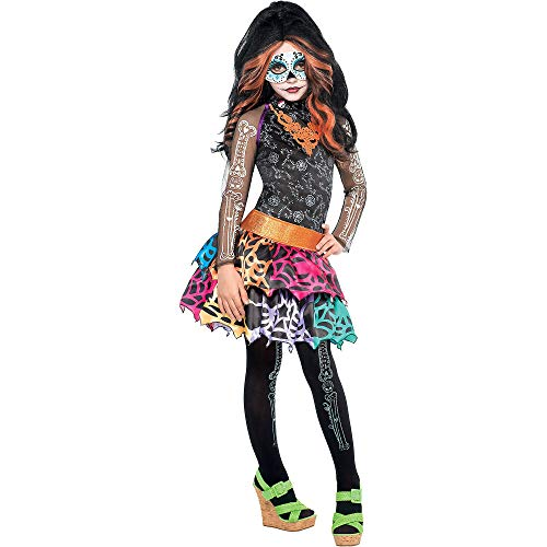 Monster High Skelita Calaveras Costume Wig Dress Tights Child Medium 8-10 -