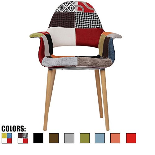 2xhome – Patchwork Patterned Mid Century Modern Upholstered Fabric Organic Accent Living Room Dining Chair Armchair Set With Back Armrest Natural Wood Wooden Legs for Kitchen Bedroom Sam (Room Wood Natural Chair Dining)