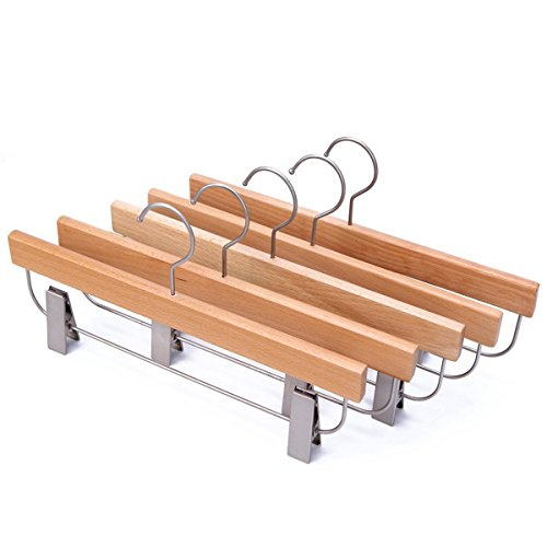 JS HANGER Deluxe Beech Wooden Pant Skirt Hangers with 2-Adjustable Clips, Natural Finish, 5-Pack
