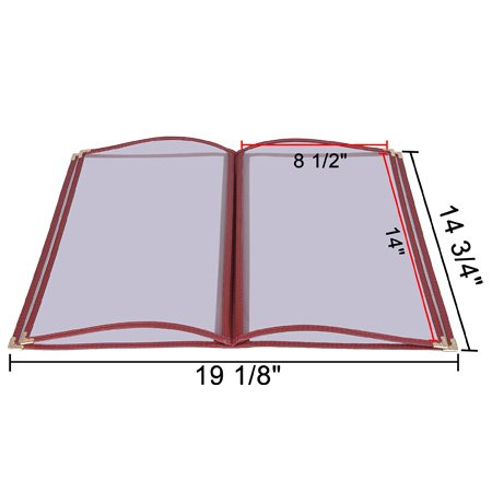 20 8.5x14'' Menu Cover 4 Page 8 View Reinforce Corner Stitch Restaurant Cafe Book