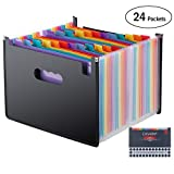 24 Pockets Expanding Files Folders/A4 Expandable File Organizer/Plastic Business Portable Accordion File Box with High Capacity Multicolour Stand