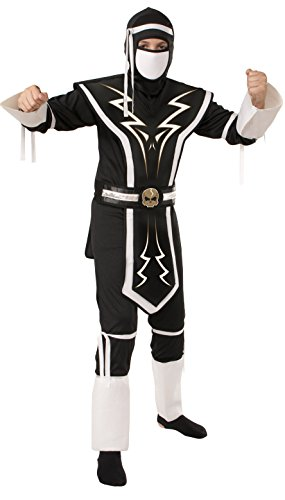 [Rubie's White and Black Skull Ninja Costume, Medium] (White Ninja Costumes For Kids)