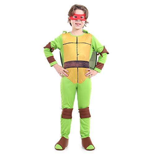 Tartaruga Ninja Raphael Luxo Infantil Sulamericana Fantasias Verde/Marrom/Bege G 10/12 Anos