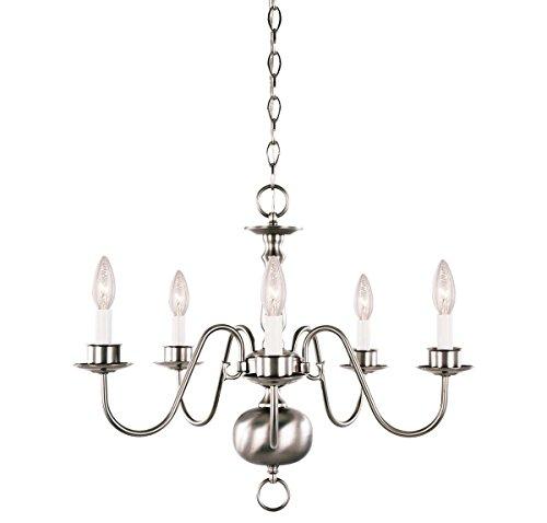 Colonial Light Nickel Five Brushed (Savoy House 17013-SN Main Street 5LT Chandelier, Satin Nickel)