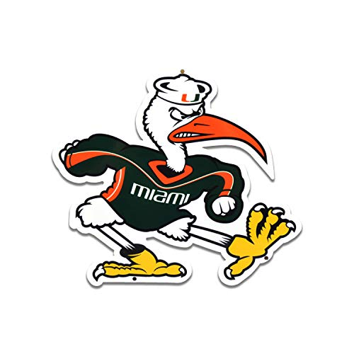Authentic Street Signs NCAA 12 Inch Steel Lasercut College Team Sports Sign for Dorm Rooms, Man Caves, Garages (Miami Hurricanes Ibis) - Ncaa Hurricanes Sign Miami Street
