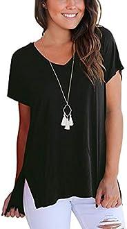 ZIOOER Women's Solid Split V-Neck Short Sleeve T-Shirt Blouse
