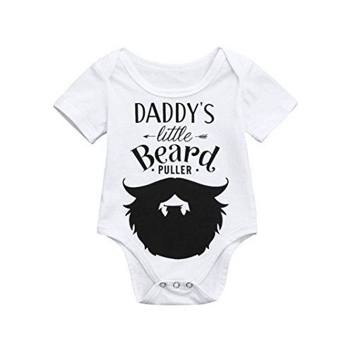 kaifongfu Newborn Jumpsuit, Infant Baby Boys Girls Romper Bodysuit Jumpsuit Outfits Sunsuit Clothes (Size:12/18M(90), White Print) ()