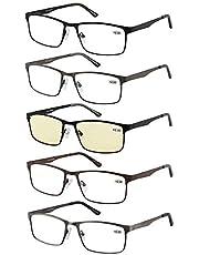 Eyecedar 5-Pack Reading Glasses Men Metal Frame Spring Hinges Stainless Steel Material Includes Sun Readers +1.00