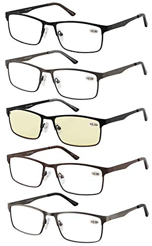 Eyecedar 5-Pack Reading Glasses Men Metal Frame Rectangle Style Stainless Steel Material Spring Hinges Includes Computer Readers +2.50 ()