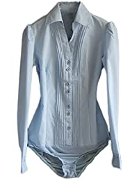 Women's Long Sleeve Easy Care Work Bodysuit Shirt